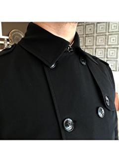 Terzi Adem 3611 İtalyan Stil Slim Fit Mevsimlik Erkek Trençkot Mont Siyah T4977